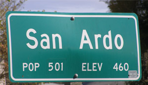 San Ardo population sign